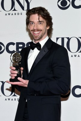 "NEW YORK, NY - JUNE 07: Christian Borle, winner of the award for Best Performance by an Actor in a Featured Role in a Musical for ""Something Rotten!,"" poses in the press room at the 2015 Tony Awards on June 7, 2015 in New York City. (Photo by Andrew H. Walker/Getty Images for Tony Awards Productions)"