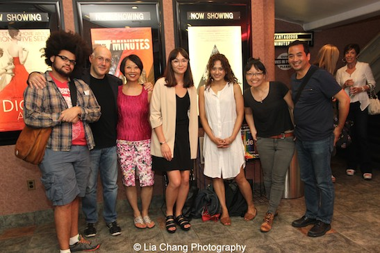 Jacinto Romero, cast members Daniel Abse, Jeanne Sakata and Freya Adams, The Verge's Emily Yoshida, director Jennifer Phang and Producer Robert Chang at a screening of Advantageous at Cinema Village in New York on June 26, 2015. Photo by Lia Chang