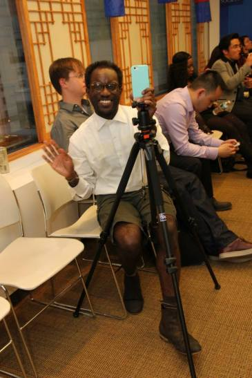 Asian American Film Lab secretary Daryl King live streamed the party on Periscope at the 72 Hour Shootout Launch party at The Korea Society in New York on June 4, 2015. Photo by Lia Chang