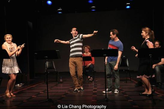 Eloise Kropp, Michael Keyloun, Klea Blackhurst, Garth Kravits and Maxine Linehan in the staged reading of Grounded for Life at The York in New York on June 26, 2015. Photo by Lia Chang