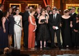 "NEW YORK, NY - JUNE 07: Cast and creative of ""Fun Home"" accept the award for Best Musical onstage at the 2015 Tony Awards at Radio City Music Hall on June 7, 2015 in New York City. (Photo by Theo Wargo/Getty Images for Tony Awards Productions)"