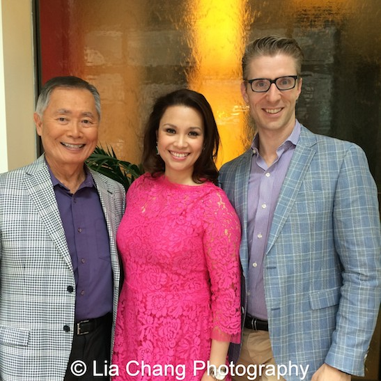 Allegiance stars George Takei, Lea Salonga with producer Lorenzo Thione at The Strand Bistro in New York on June 25, 2015. Photo by Lia Chang
