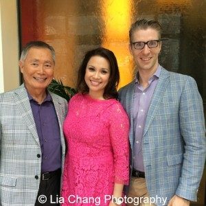 Allegiance stars George Takei, Lea Salonga with producer Lorenzo Thione at The Strand Bistro in New York on June 26, 2015. Photo by Lia Chang