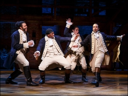Daveed Diggs, Okieriete Onaodowan, Anthony Ramos and Lin-Manuel Miranda in Hamilton. Photo by Joan Marcus