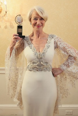 """NEW YORK, NY - JUNE 07: Helen Mirren, winner of the award for Best Lead Actress in a Play for """"The Audience,"""" poses in the press room during the 2015 Tony Awards at Radio City Music Hall on June 7, 2015 in New York City. (Photo by Jemal Countess/Getty Images for Tony Awards Productions)"""