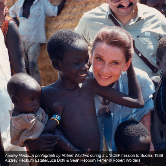 Audrey Hepburn. Photo by Robert Wolders during a UNICEF mission to Sudan, 1989. Audrey Hepburn Estate/Luca Dotti & Sean Hepburn Ferrer © Robert Wolders.