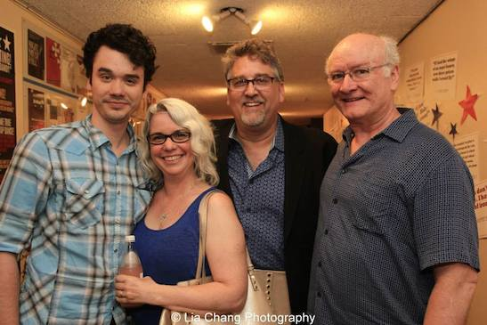 Ian Hyland, Melissa Canaday, Pat Hazell and Edward James Hyland after the performance of Grounded for Life at The York in New York on June 26, 2015. Photo by Lia Chang