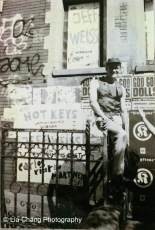 Jeff Weiss in front of PS 122 in New York in 1993. Photo by Lia Chang