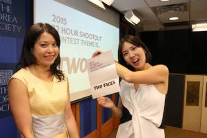 Asian American Film Lab president Jennifer Betit Yen and 72 Hour Shootout coordinator Youn Jung Kim at the 72 Hour Shootout Launch party at The Korea Society in New York on June 4, 2015. Photo by Lia Chang