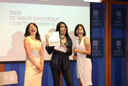 Asian American Film Lab president Jennifer Betit Yen, filmmaker Bertha Bay-Sa Pan and 72 Hour Shootout coordinator Youn Jun Kim announced this year's  theme at the 72 Hour Shootout Launch party at The Korea Society in New York on June 4, 2015. Photo by Lia Chang