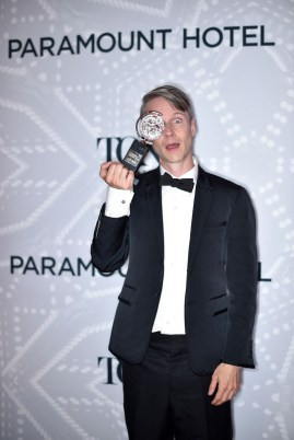 NEW YORK, NY - JUNE 07: John Cameron Mitchell, winner of a Special Tony Award, poses in the Paramount Hotel Winners' Circle at the 2015 Tony Awards on June 7, 2015 in New York City. (Photo by Mike Coppola/Getty Images for Tony Awards Productions)