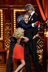 NEW YORK, NY - JUNE 07: Hosts Kristen Chenoweth and Alan Cumming hug Tommy Tune as he accepts a Special Tony Award for Lifetime Achievement in the Theatre performs onstage at the 2015 Tony Awards at Radio City Music Hall on June 7, 2015 in New York City. (Photo by Theo Wargo/Getty Images for Tony Awards Productions)