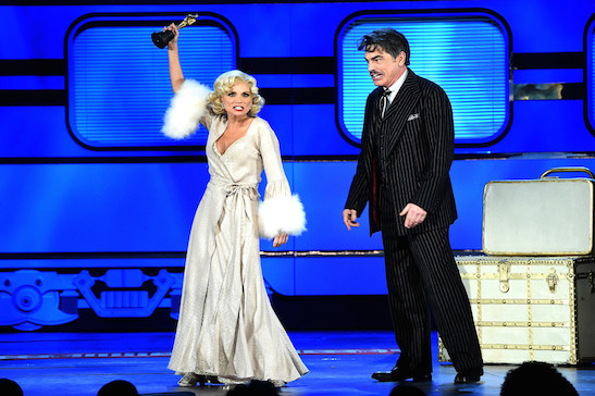NEW YORK, NY - JUNE 07: Kristen Chenoweth, Peter Gallagher and the cast of 'On The Twentieth Century' perform onstage at the 2015 Tony Awards at Radio City Music Hall on June 7, 2015 in New York City. (Photo by Theo Wargo/Getty Images for Tony Awards Productions)