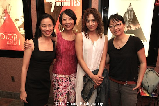 Lia Chang with cast members Jeanne Sakata, Freya Adams and Director Jennifer Phang at the opening night screening of Advantageous at Cinema Village in New York on June 26, 2015.