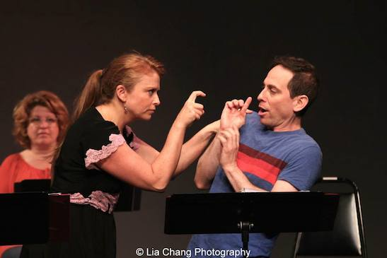 Maxine Linehan as Tina Truesdale and Garth Kravits as Mitchell Mulligan in the staged reading of Grounded for Life at The York in New York on June 26, 2015. Photo by Lia Chang