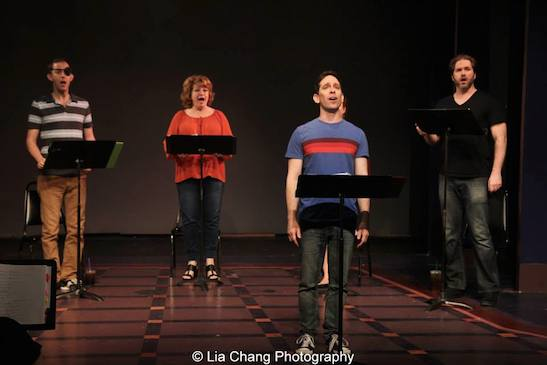 Michael Keyloun, Klea Blackhurst, Garth Kravits and Aaron Ramey in the staged reading of Grounded for Life at The York in New York on June 26, 2015. Photo by Lia Chang