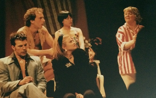 Nick Rodgers, Paul Beauvois, Lia Chang, Kristen Johnston, Brenda Cummings in a scene from Hot Keys at Naked Angels in New York in 1991. Photo courtesy of Lia Chang