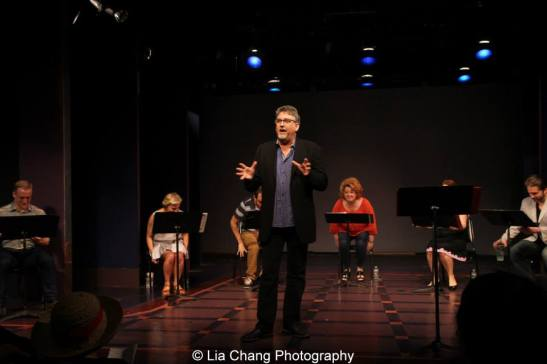 Pat Hazell introduces the staged reading of Grounded for Life at The York in New York on June 26, 2015. Photo by Lia Chang