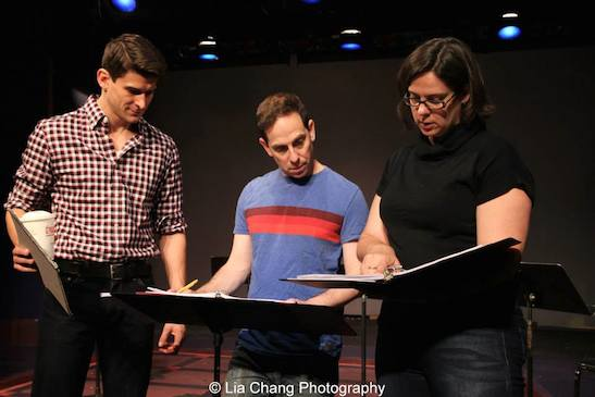 Director Patrick O'Neill, Garth Kravits and stage manager Melanie J. Lisby during rehearsal of the staged reading of Grounded for Life at The York in New York on June 26, 2015. Photo by Lia Chang