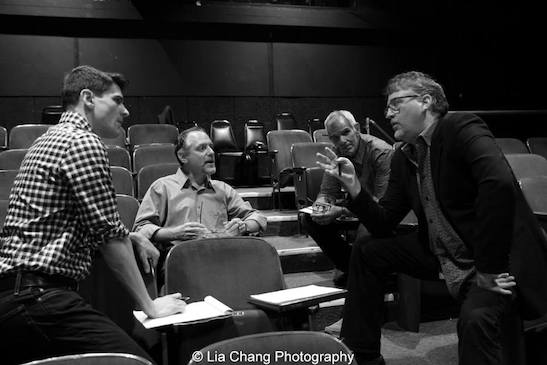 Director Patrick O'Neill and Grounded for Life creators Lawrence Goldberg, Bill Habeeb and Pat Hazell during rehearsal of the staged reading of Grounded for Life at The York in New York on June 26, 2015. Photo by Lia Chang