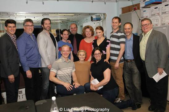 (standing) Patrick O'Neill, Pat Hazell, Aaron Ramey, Garth Kravits, Matt Perri, Klea Blackhurst, Maxine Linehan, Michael Keyloun, Lawrence Goldberg, The York's producing artistic director James Morgan; (front row) Ryan Worsing, Eloise Kropp and Melanie J. Lisby backstage at The York in New York on June 26, 2015. Photo by Lia Chang