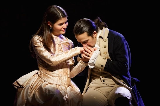 Phillipa Soo and Lin-Manuel Miranda in Hamilton. Photo by Joan Marcus
