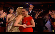 The King and I's Ruthie Ann Miles is hugged by her co-star Kelli O'Hara upon winning the Tony Award for Best Featured Actress in a Musical at the 69th Annual Tony Awards at Radio City Music Hall in New York on June 7, 2015.