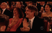 Bartlett Sher, director of The King and I, applauds Ruthie Ann Miles as she gives her acceptance speech for the Tony Award for Best Featured Actress in a Musical at the 69th Annual Tony Awards at Radio City Music Hall in New York on June 7, 2015.