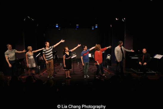Ryan Worsing, Eloise Kropp, Michael Keyloun, Maxine Linehan, Garth Kravits, Klea Blackhurst, Aaron Ramey, Matt Perri at curtain call for the staged reading of Grounded for Life at The York in New York on June 26, 2015. Photo by Lia Chang