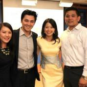 Sandy Lee of Time Warner, Warren Chiu, Asian American Film Lab president Jennifer Betit Yen, and Ben Kwok at the 72 Hour Shootout Launch party at The Korea Society in New York on June 4, 2015. Photo by Lia Chang