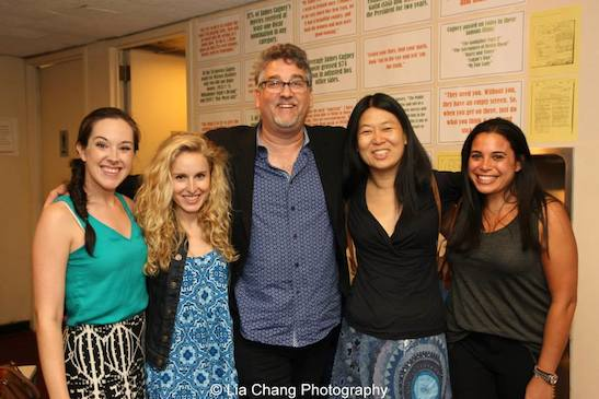 Sarah Armstrong, Kimberly Much, Pat Hazell, Peilin Chou and Shari Pessah after the performance of Grounded for Life at The York in New York on June 26, 2015. Photo by Lia Chang