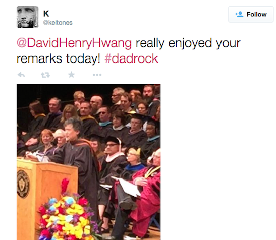 Tony Award winning playwright David Henry Hwang received an honorary degree of Doctor of Fine Arts from SUNY Purchase College at the 43nd annual commencement ceremony on May 15, 2015, at the Westchester County Center in White Plains, NY. Photo courtesy of @keltones /twitter