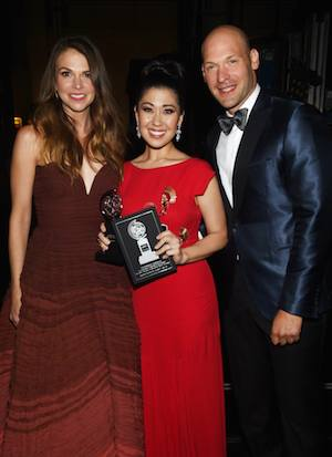 Sutton Foster, Ruthie Ann Miles, and Corey Stoll attend the 2015 Tony Awards at Radio City Music Hall on June 7, 2015 in New York City. Photo courtesy of The Tony Awards/Facebook