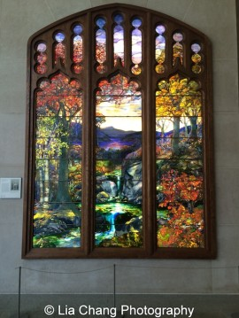 Autumn Landscape Maker: Tiffany Studios (1902–32) Designer: Attributed to Agnes F. Northrop (1857–1953) Date: 1923–24 Geography: Mid-Atlantic, New York, New York, United States Culture: American Medium: Leaded Favrile glass Dimensions: 132 x 102 in. (335.3 x 259.1 cm) Classification: Glass Credit Line: Gift of Robert W. de Forest, 1925 Accession Number: 25.173a–o at The Metropolitan Museum of Art. Photo by Lia Chang