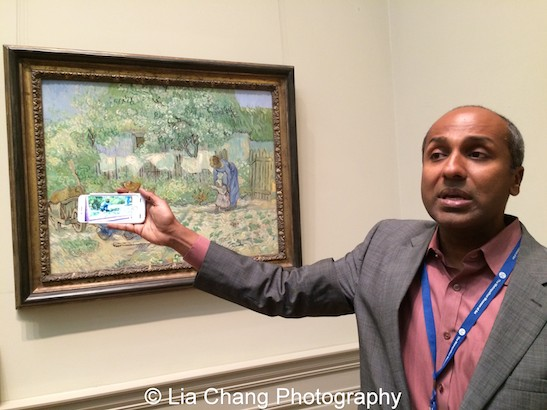 """First Chief Digital Officer Sree Sreenivasan shows off the augmented reality app Blippar which adds animation to van Gogh's """"First Steps, after Millet,"""" at The Metropolitan Museum of Art. Photo by Lia Chang #emptymet"""