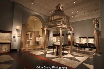 Dominated by a twelfth-century marble ciborium, or altar canopy, Gallery 304, the Medieval Europe Gallery exhibits works of art in all media from about 1050 to 1300 at The Metropolitan Museum of Art. Photo by Lia Chang #emptymet