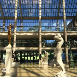 Stained-glass and sculpture filled Charles Engelhard Court at The Metropolitan Museum of Art. Photo by Lia Chang #emptymet