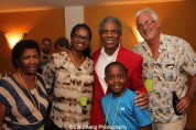 André De Shields with Glenda Noel-Ney, ‎Vice President of Advancement at Overture Center for the Arts, her mother, her son Pierce and her husband Willie Ney at the opening night party of Victory Gardens Theater's 2015 IGNITION Festival of New Plays in Chicago on July 16, 2015. Photo by Lia Chang
