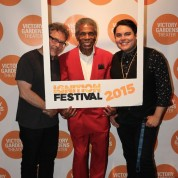 Jose Rivera, André De Shields and Victory Gardens Literary Manager Isaac Gomez at the opening night party of Victory Gardens Theater's 2015 IGNITION Festival of New Plays in Chicago on July 16, 2015. Photo by Lia Chang