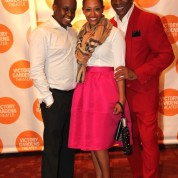 Samuel G. Roberson, Ashely Roberson and André De Shields at the opening night party of Victory Gardens Theater's 2015 IGNITION Festival of New Plays in Chicago on July 16, 2015. Photo by Lia Chang
