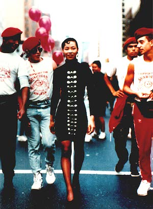 Lia Chang during a photo shoot in the 90's with Guardian Angels, on the streets of New York.
