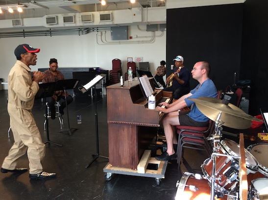 André De Shields, Donica Lynn, Tony Mhoon and musical director Doug Peck in rehearsal for CONFESSIONS OF A P.I.M.P. at Victory Gardens Theater in Chicago on July 15, 2015. Photo by Lia Chang
