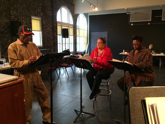 André De Shields, Kimberly Lawson and Donica Lynn in rehearsal for CONFESSIONS OF A P.I.M.P. at Victory Gardens Theater in Chicago on July 15, 2015. Photo by Lia Chang