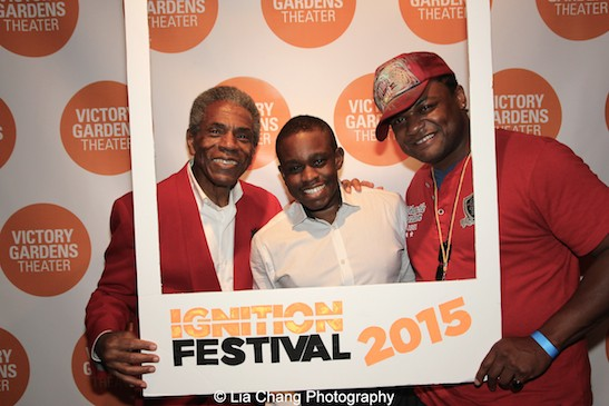 André De Shields, Samuel G. Roberson Jr. and Kelvin Roston Jr. at the opening night party of Victory Gardens Theater's 2015 IGNITION Festival of New Plays in Chicago on July 16, 2015. Photo by Lia Chang