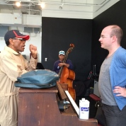 André De Shields, Tony Mhoon and musical director Doug Peck in rehearsal for CONFESSIONS OF A P.I.M.P. at Victory Gardens Theater in Chicago on July 15, 2015. Photo by Lia Chang