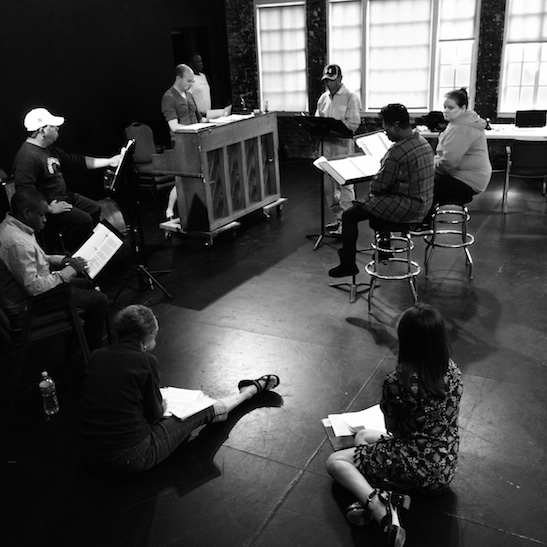 CONFESSIONS OF A P.I.M.P. cast and creative team in rehearsal at Victory Gardens Theater in Chicago on July 15, 2015. Photo by Lia Chang