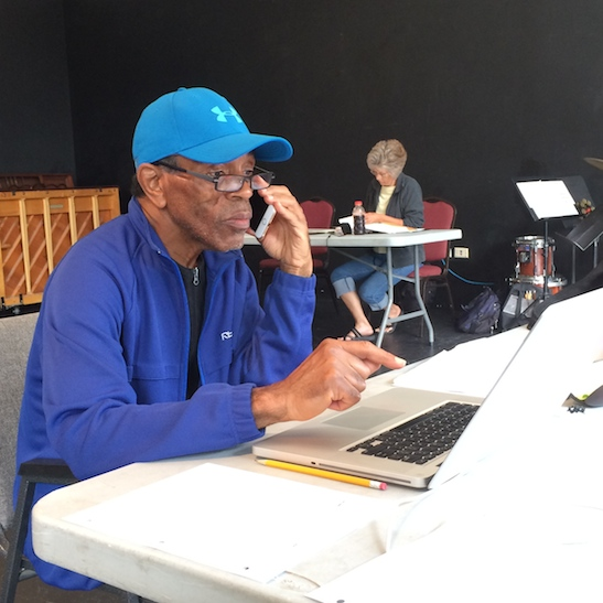 André De Shields in rehearsal for CONFESSIONS OF A P.I.M.P. at Victory Gardens Theater in Chicago on July 14, 2015. Photo by Lia Chang