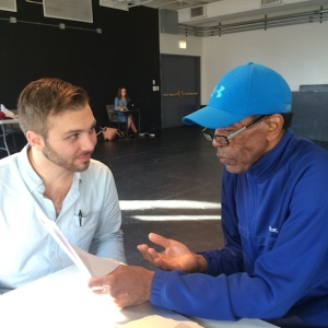 Literary intern Austin Louis Dowling and André De Shields in rehearsal for CONFESSIONS OF A P.I.M.P. at Victory Gardens Theater in Chicago on July 14, 2015. Photo by Lia Chang