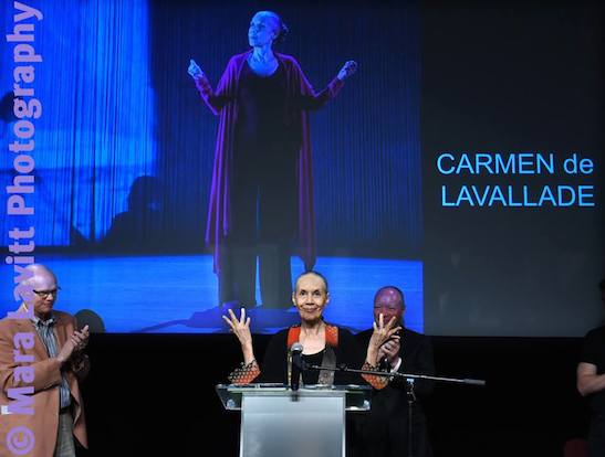 Carmen de Lavallade received the Killen Award for outstanding contribution to Connecticut theater at the Yale's Iseman Theater in New Haven on June 22, 2015. Credit: Mara Lavitt Photography