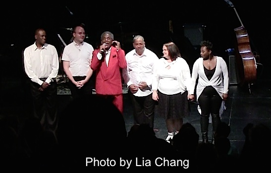 Robert Reddrick, Doug Peck, André De Shields, Tony Mhoon, Kimberly Lawson and Donica Lynn at the curtain call for CONFESSIONS OF A P.I.M.P. in Victory Gardens' 2015 IGNITION Festival of New Plays in Chicago on July 16, 2015. Photo by Lia Chang